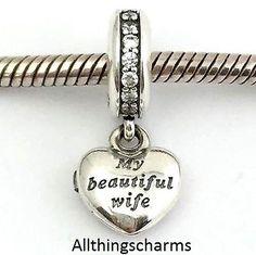 Brand New Genuine Silver Pandora My Beautiful Wife Charm - 791524CZ - RRP £45.
