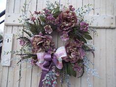 Summer Wreath  Purple Peony Spring Home Decor by marigoldsdesigns, $74.95
