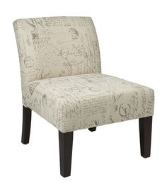 Office Star LAG51-S13 Laguna Chair in Script Fabric with Dark Espresso Legs