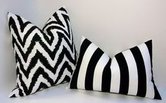 Black and white, stripes and zigzag, decorative pillow pair