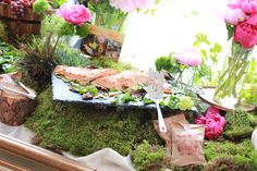 Food display details. Gorgeous food. Moss table scape. Raw wood food stand. Fresh flowers. Peonies. Seattle caterer. Seattle wedding caterer. Bothell caterer. Alexa's Cafe.