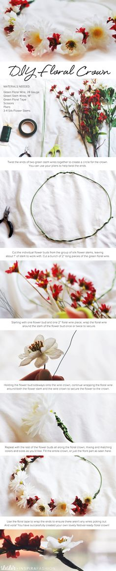 DIY Flower Crown Tutorial #festival #diy