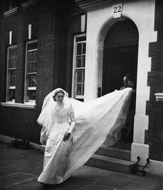 Marion Stein on her first wedding day in 1949, when she married George Lascelles, later the 7th Earl of Harewood