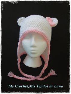 My Crochet , Mis Tejidos: Kitty Cat Beanie Hat - Gorro Gatita
