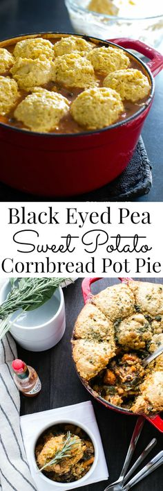 A comforting and hearty vegetarian one pot meal. Black Eyed-Pea Sweet Potato Cornbread Pot Pie   Vanilla And Bean use egg substitute