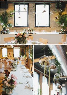 Bridal party table with hanging flower filled glass ornaments. #weddingchicks Captured By: Mango Studios http://www.weddingchicks.com/2014/06/25/indoor-garden-party-bridal-shower/