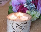 5 Birch Bark Log Tea Light  Candle Holders  for your Wedding  Centerpieces. $18.00, via Etsy.