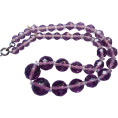 1930s Purple Crystal Beads Necklace Graduated Rondelle Spacers
