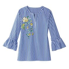 VANESSA TUNIC: The Modern Southern Belle Collection: we've combined the vibrant hues of the azaleas in Savannah's Forsyth Park and the sunny blues from Carolina skies with ruffled details to create ladylike prints in contemporary pieces. Avon Fashion, Fashion Outfits, Blouse Styles, Blouse Designs, Embroidery Fashion, Floral Embroidery, Clothes Crafts, Blouse Dress, Casual Dresses