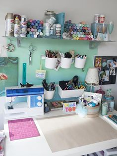 Craft Room & Home Office Storage Ideas - organized spaces, with lots of inspiration. Lots of creative ways to organize your work spaces!