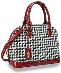 Embossed Patent Houndstooth Print Bowler Handbag Only 18 75 W 100 Min Total Order