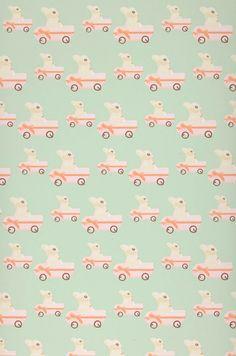 Sweet bunny | Papier peint enfants | Motifs du papier peint | Papier peint des années 70