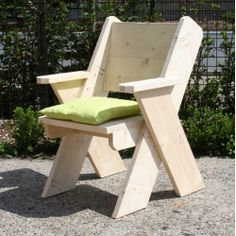 Chair with backrest- Stoel met leuning Chair with backrest - Outdoor Furniture Plans, Pallet Furniture, Rustic Furniture, Woodworking Workbench, Woodworking Furniture, Woodworking Projects, Woodworking Skills, Pallet Chair, Diy Chair