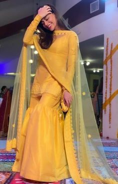 Buy Yellow Color Sharara Suit by Akanksha Singh at Fresh Look Fashion Pakistani Fashion Party Wear, Pakistani Formal Dresses, Pakistani Wedding Outfits, Pakistani Bridal Wear, Pakistani Dress Design, Indian Fashion, Indian Bridal, Wedding Dresses, Punjabi Suits Party Wear