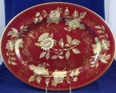 """Wedgwood TONQUIN RUBY 17"""" Oval Serving Platter GREAT CONDITION #WEDGWOOD"""
