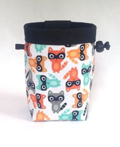 raccoons chalk bag, rock climbing, teal, orange, gray
