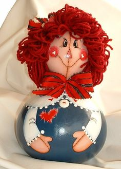 Raggedy Ann Gourd Doll  Hand Painted by FromGramsHouse on Etsy,