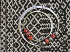 Silver and coral earrings, Libya.