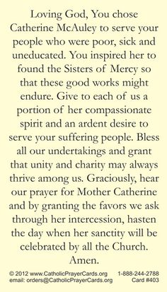 Venerable Mother Catherine McAuley prayer card