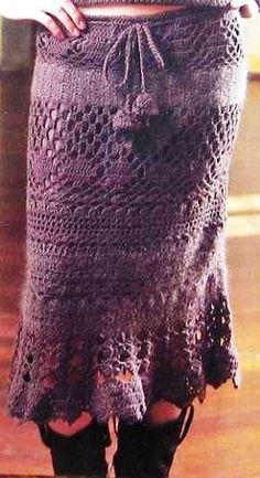 Lilac Midlength Skirt -  free crochet graph pattern
