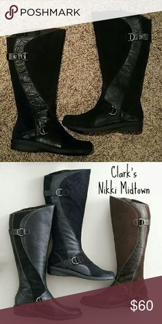 Tall Black clark nikki midtown boots The Nikki Midtown is from Clark's Bendables collection featuring internal and external flex grooves in the sole for flexibility and traction. The soft leather uppers and OrthoLite? cushioned footbed add to this boot's all-day comfort. Clarks Shoes