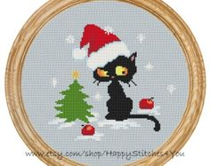 Cross Stitch Pattern PDF christmas cat DD0129