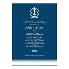 Wedding Rehearsal Dinner | Nautical Theme Personalized Announcement #wedding #invitations