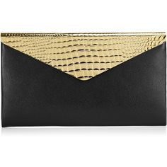 Jimmy Choo Charlize Black Gloss Leather Clutch Bag with Gold Flap (£680) ❤ liked on Polyvore featuring bags, handbags, clutches, purses, bolsas, accessories, black, leather handbags, gold envelope clutch and genuine leather handbags