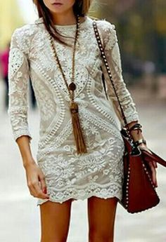 lace boho chic mini dress with gypsy style long tassel necklace & modern hippie studded leather purse. For the BEST Bohemian fashion trends for 2014 FOLLOW http://www.pinterest.com/happygolicky/the-best-boho-chic-fashion-bohemian-jewelry-gypsy-/