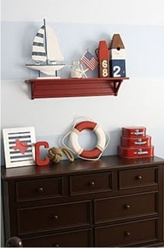 I am really beginning to like this brown and red with a tinge of navy idea - maybe for the nursery!