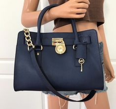 NWT Michael Kors Hamilton Navy Blue Saffiano Leather Satchel Shoulder Bag Purse  | eBay