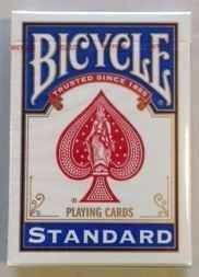 Bicycle Rider Back Playing Cards by USPC. $3.42. This deck of Bicycle Playing Cards is a standard deck without the back (design) on them. Poker Size 2 1/2 x 3 1/2.Blank on the back, but regular faces on the entire deck. Use them in conjunction with other decks or effects and create brand new effects.