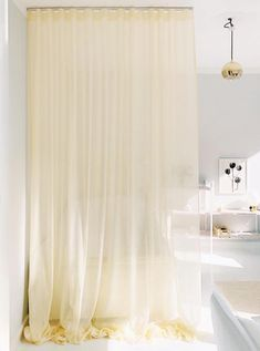 Picture from Mimmi Staaf and from the home of Erika Gerdemark. This is our voile Lugano. #astridtextiles #trevira #curtain #yellow Lugano, Flame Retardant, Erika, Showroom, This Is Us, Walls, Curtains, Shower, Yellow