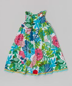 Loving this Green Floral Ruffle Dress - Toddler & Girls on #zulily! #zulilyfinds