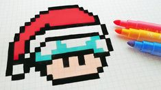Handmade Pixel Art - How To Draw a Musroom Santa Claus Pixel Art Champignon, Square Drawing, Modele Pixel Art, Pixel Art Grid, Pixel Drawing, Diy Perler Beads, Minecraft Pixel Art, Art Sketchbook, Art Music