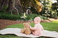 Baby and teddy bear; photo idea