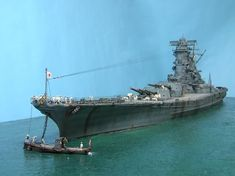 IJN battleship Yamato diorama model. Scale Model Ships, Scale Models, Model Warships, Imperial Japanese Navy, Model Tanks, Battleship, Plastic Models, Marines, Sailing Ships
