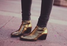 ::bronze ankle boots