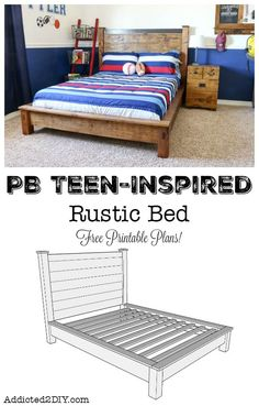 Build this gorgeous PB Teen-Inspired Rustic Double Bed using the FREE printable plans! This bed is simple to build and only costs about $160 in materials! #elmersproducts #spon #diy #knockoff