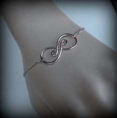 Infinity bracelet, sterling silver infinity bracelet, sterling silver handmade infinity by DesignsByDomino on Etsy https://www.etsy.com/listing/166883653/infinity-bracelet-sterling-silver