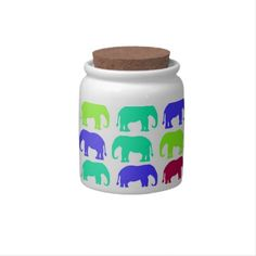 Searching for that perfect gift? Zazzle have the perfect bright gift for any occasion. Explore our fab gifts today! Bright Pink, Pink And Green, Funky Kitchen, Sweet Jars, Elephant Pattern, Candy Jars, Kitchen Accessories, Contemporary, Modern