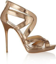 46368db5e465 Jimmy Choo - Metallic Collar Mirrored-Leather Sandals - Lyst