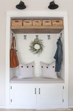 Pantry Turned Mudroom Nook Reveal Pantry Turned Mudroom Nook Reveal Modern on Monticello Interior Designer 038 DIY Enthusiast Save Images Modern o… – Mudroom Entryway Home Renovation, Home Remodeling, Closet Nook, Closet Mudroom, Entry Closet Organization, Small Mudroom Ideas, Front Hall Closet, Entry Nook, Closet Remodel