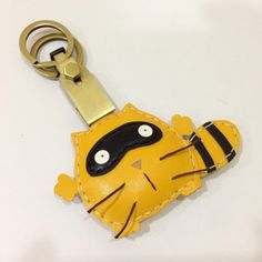 Ronnie the Raccoon Leather Keychain with Gold by leatherprince, $36.90