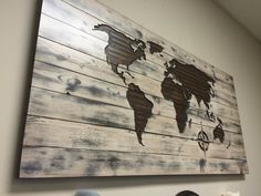Beautiful WOOD CARVED World Map Wall Art - made from solid wood and is custom made to order. Add your own quote, pick your own font, pick your desired finish - make it your own! It can be made with or without a quote or the compass.  Feel confident in your purchase - read our reviews: https://www.etsy.com/your/shops/HowdyOwl/reviews?ref=shop_info    TO VIEW COLOR PALLET, GO TO THIS LINK: https://www.etsy.com/listing/458275048/color-pallett-for-world-maps-with-white?ref=shop_home_active_1…