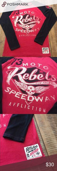 Affliction long sleeve shirt Men's red long sleeve shirt Affliction Shirts Tees - Long Sleeve