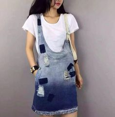 New stylish denim sundress dress summer women's adjustable straps plus size 5xl w226