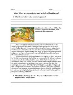 This 4 page worksheet, with teacher answer key, can be used as a lesson plan, homework assignment, or sub plan. Students learn about Siddhartha Gautama and analyze Buddhist texts and primary sources (The Four Noble Truths Sermon and The Five Precepts of Buddhism) to learn Buddhist beliefs. Students compare/contrast Hinduism to Buddhism, analyze Buddhism's appeal in Ancient India, and finish by completing a fun application activity deciding whether everyday choices are right or wrong in…