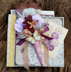 """Sentiments"" Mini Scrapbook /Photo/ Display Album w/ Vintage Greeting Cards,TPHH"