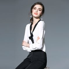 2017 Hot Sale New Design Top Shirts Blouse Turn-Down Collar Ladies ...